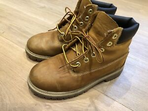 Kinder Schuhe Boots Stiefel TIMBERLAND Gr 34 braun Echtleder, Sohle wie neu****