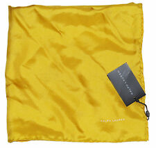 Ralph Lauren Black Label Mens Made In Italy 100% Silk Yellow Pocket Square New