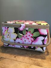 FLORAL PADDED  SEWING BASKET - CASE - CONTAINER - CARRIER