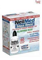 NeilMed Sinus Rinse 60 Sachets kit & 240ml bottle natural saline nasal sin rinse