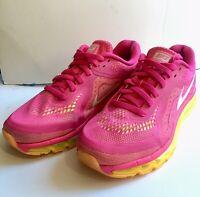 Nike Air Max Women's Pink Yellow Running US Shoes Tennis 621078-687 2014 Sz10