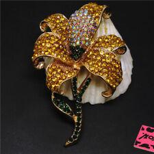 Crystal Betsey Johnson Charm Brooch Pin Hot Yellow Bling Flower Ab Rhinestone