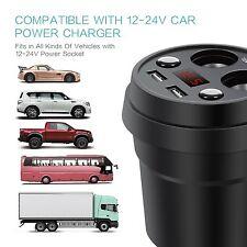 Auto KFZ Ladegerät 12V 24V 2 USB 2 Zigarettenanzünder Getränkehalter Verteiler