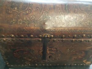 Unusual Small Leather old Wooden Trunk