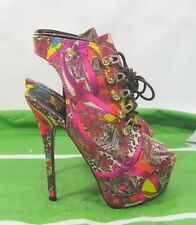 "Multi Animal Print 6"" Stiletto High Heel 2"" Platform Sexy Shoes Size 6.5"