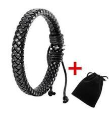 Mens Women Unisex Leather Bracelet Bangle Cuff Rope Black Surfer Wrap Adjustable
