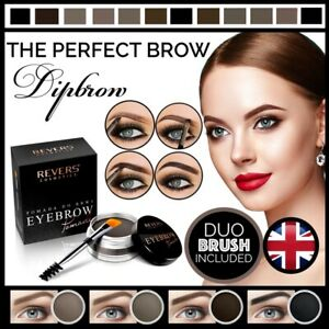 ❤ Revers Cosmetics Dipbrow EYEBROW POMADE Perfect Eye Brow Makeup & DUO BRUSH UK
