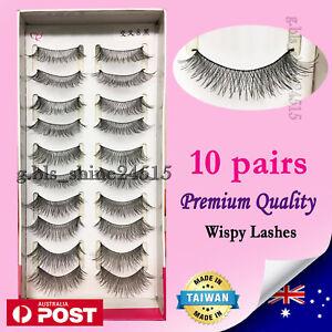 10 Pairs Natural Long Soft Black Fake False Eyelashes Sexy Makeup Party #X8Blk