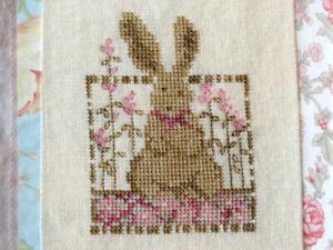 Daisy Rabbit Beginner Cross Stitch Pattern Pink Flowers Country Garden