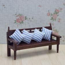 Long Wood Bench Chair Sofa Pillows Cushion Dollhouse Miniature Dolls House 1:12