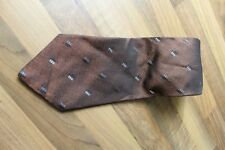KR899 Enrico Mori Krawatte 100% Seide Braun silber schwarz 141cm Sehr gut
