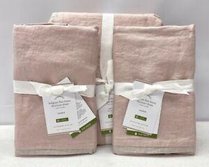 NEW Pottery Barn Belgian Linen Contrast Flange F/Q Duvet Cover & Shams~Rose/Flax