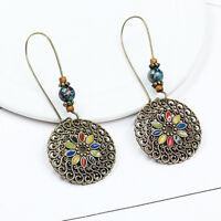 Vintage Bohemian FlowerDrop Dangle Earrings Stud Handmade HollowRound Pendant MW