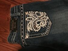 Antique Rivet Slim Boot-cut Bling Rhinestone Blue Denim Jeans 29 31 Women Junior