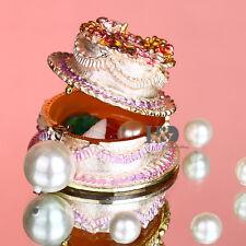 Handmade Crystal Metal Cake Trinket Boxes Figurines Jewelry Wedding Decor Gifts
