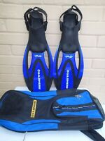 U.S. Divers Proflex Fins Flippers With Carry Bag Blue | Size: Small 4-7