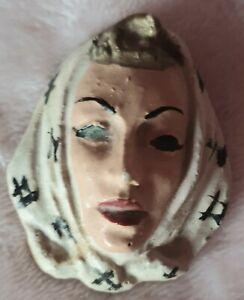 Vintage large lady face brooch 1950's?