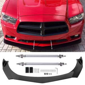 For Dodge Charger SE RT SXT Carbon Front Bumper Lip Spoiler Splitter +Strut Rods