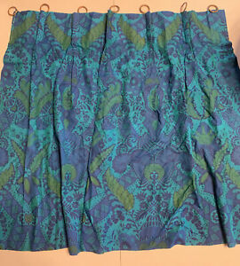 vintage mid century modern blue turquoise green cafe curtain