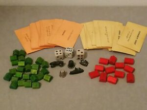Very Old Monopoly Pieces, Community Chest, Chance, Dice, Houses, Hotels(Wooden)