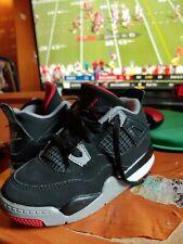 Nike Air Jordan 4 IV Black Fire Red Cement Grey Shoes Kids size 9C