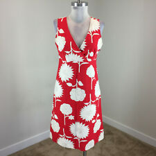 Boden red White Floral A line dress Sleeveless Empire UK 10 US S 6 8 EUC