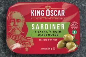 King Oscar Sardiner (sardines) from Norway, in extra virgin olive oil. 106 grams
