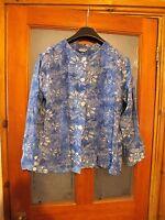 Ladies beautiful blue cotton patterned blouse by Gringo. Size 14-16