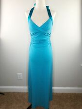Evening, Cocktail Gown. Sparkle Teal. Lace-Up Tie Back. Size Medium M