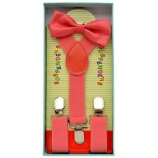 Set Suspenders And Bow Tie Matching Kids Toddlers Coral Pink Peach Boxed Gift