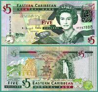 Eastern East Caribbean, $5, 2008, Pick 47, UNC > Queen Elizabeth / QE II *