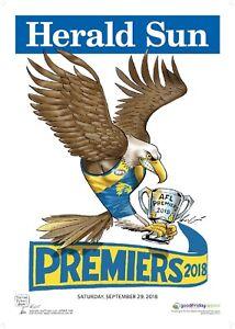 2018 Original Herald West Coast Eagles Knight Premiers Poster Premiership