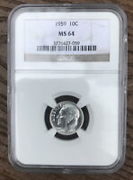 1959-P Roosevelt Dime NGC Certified MS64
