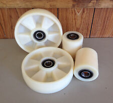 Pallet Jack/Truck/Stacker Complete Nylon Wheels (2 roller  & 2 steer wheels)