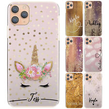Personalised Phone Case for Samsung S20/S10 Initial Pink Dots Unicorn Hard Cover