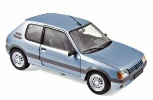 1:18th PEUGEOT 205 GTi 1.6 diecast model road car Topaze blue 1988 NOREV 184857