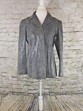 Vintage Liz Claiborne Women's Gray Leather Animal Print Blazer Size Large