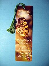 """When The Caperpillar""  Poem on a Tassel Bookmark (kelly green tassel)-Sku# 855"