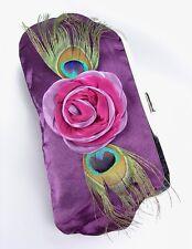 Silky Purple Satin Flower Peacock Feathers Clutch Evening Purse Bag