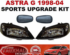 VAUXHALL ASTRA MK4 GSI STYLE PAIR OF BLACK HEADLIGHTS HEADLAMPS & SIDE REPEATERS