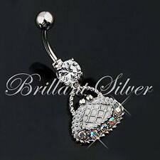 Belly Button Piercing Silver Navel Stud Pendant Purse Crystals White Aurora