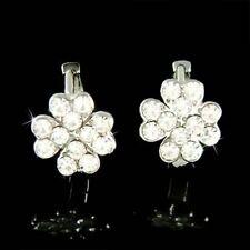 w Swarovski Crystal Irish St Patricks Day LUCKY ~4 Leaf CLOVER Shamrock Earrings