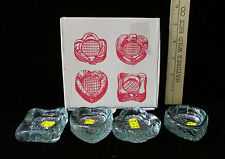 4 Small Glass Heart Diamond Spade Club Candy Nut Dishs Card Games Made in Spain