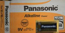 12 Pila Alcalina 9V 6LR61 PANASONIC Alkaline Power, Caja completa Cerrada
