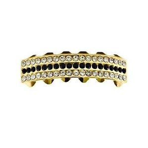 14k Gold Plated Black Stones Grillz Iced Lower Teeth Three Rows Bottom Grills