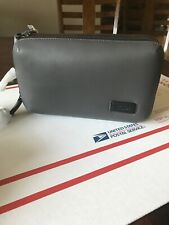 Tumi Harrison Adams Triple Zip Leather Clutch Bag Grey 63015GRY