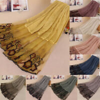 Women Lace Print Patchwork Long Soft Cotton Scarf Wrap Lady Shawl Large Scarves