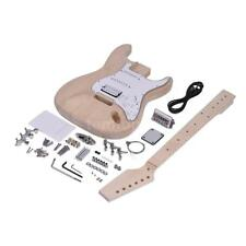 ST Unfinished DIY Electric Guitar Kit Basswood Body Maple Neck Free Ship L1X5