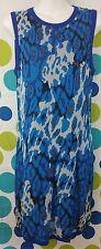 Club Monaco Medium Stretch Blue Leopard Print Sleeveless Date Summer Party Dress
