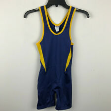 Brute Navy Blue Yellow Greco Roman Freestyle Wrestling Singlet AS Adult S